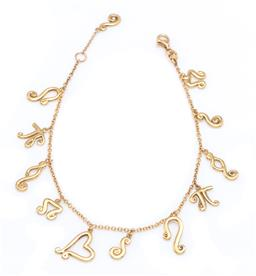 Sale 9194 - Lot 355 - AN 18CT GOLD DIAMOND CHARM BRACELET; cable link chain attached with 11 swirl charms incl. 6 each set with a round brilliant cut diam...