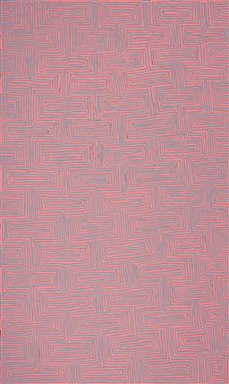 Sale 9239A - Lot 5042 - JAKE TJAPALTJARRI (1970 - ) Tingari acrylic on canvas 121 x 204 cm (stretched and ready to hang) signed verso; certificate of authen...