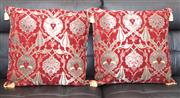 Sale 8338A - Lot 22 - A pair of red cushions with Turkish designs, 50 x 50cm