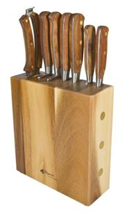 Sale 8648X - Lot 72 - Laguiole Louis Thiers Sequoia Wood Handled 8-Piece Kitchen Knife Set with Block
