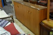 Sale 8515 - Lot 1085 - Vintage Credenza with Glass Top & Four Doors
