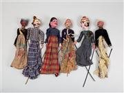 Sale 8716A - Lot 84 - A group of six vintage Indonesian hand puppets with original hand painted timber heads ad timber articulated extremities, each appro...