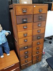 Sale 8822 - Lot 1075 - Tall Oak Chest of 20 File Drawers