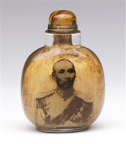 Sale 9086 - Lot 22 - A Cased glass snuff bottle with tiger stone stopper (H8.5cm)