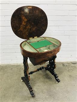Sale 9097 - Lot 1047 - Victorian Burr Walnut Sewing Table, the oval hinged top enclosing a divided interior, a tapering basket on pierced shaped supports j...