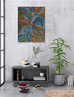 Sale 9092A - Lot 5080 - Rosemary (Pitjara) Petyarre (c1965 - ) - Yam Leaf Dreaming 96 x 73 cm (stretched and ready to hang)