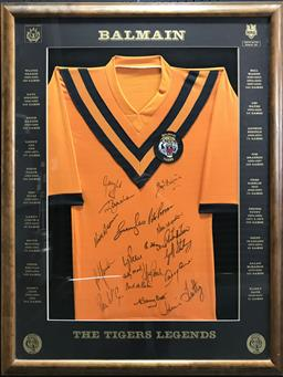 Sale 9112T - Lot 39 - Framed balmain Tigers signed jersey The Tiger Legends. Certificate available (110 x 90cm)