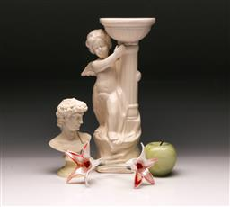 Sale 9119 - Lot 184 - A selection of items incl bust of David, art glass flowers, stone apple and ceramic cherubic pillar (H: 33cm)