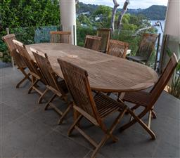Sale 9162H - Lot 219 - A teak outdoor setting comprising of an oval form table (height 75cm x 300cm x 120cm), 10 cocoon folding chairs, and an Ascot teak s...