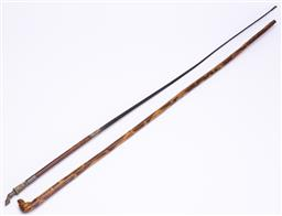 Sale 9185E - Lot 35 - A hound head topped timber swagger stick, Length 75.5cm, together with a riding crop with horse hoove finial, Length 83cm