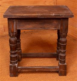 Sale 9191W - Lot 734 - A small timber side table (H; 45cm, W; 45cm)