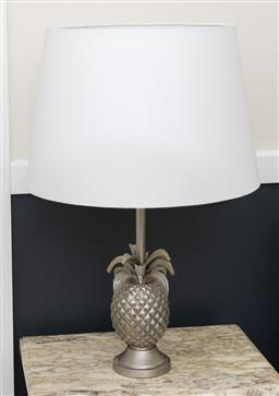 Sale 9248H - Lot 114 - A silvered metal pineapple lamp with cream shade.  height 67cm
