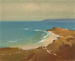 Sale 9244A - Lot 5078 - GRAHAM COX (1941 - ) Summer on The Coast at Stanley, Tasmania oil on board 19 x 24 cm (frame: 27 x 32 x 5 cm) signed lower right