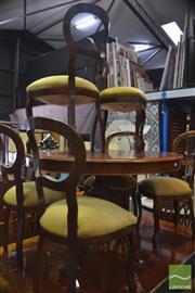 Sale 8326 - Lot 1329 - Timber Circular Extension Seven Piece Suite Incl Table And Six Balloon Back Chairs