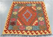 Sale 8445K - Lot 40 - Summer Afghan Tribal Kilim Rug , 107x94cm, Finely handwoven in Northern Afghanistan using high quality local wool. Vibrant summer co...