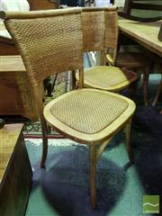 Sale 8545 - Lot 1076 - Set of Six Natural Oak Rattan Back Dining Chairs