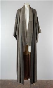 Sale 8740F - Lot 115 - A silk kimono, dotted white against a grey ground of various shades with contrasting lining