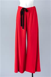 Sale 8782A - Lot 166 - A pair of Gucci wool crepe palazzo pants in red, size 40 together with inbuilt black velvet belt