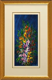 Sale 8794 - Lot 2024 - John Biasetto - Flowers oil on canvas board, 49 x 22.5cm, signed -