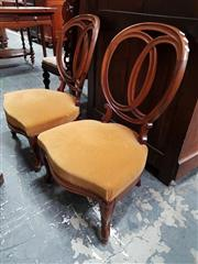 Sale 8848 - Lot 1058 - Pair of 19th Century Rosewood Salon Chairs, with balloon backs, gold velvet seats & cabriole legs