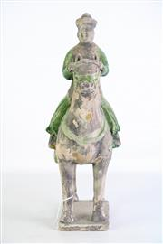 Sale 8912H - Lot 39 - Ming style green glazed pottery figure of an official on horseback. Height 35cm x Width 29cm x Depth 8cm
