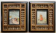Sale 9091 - Lot 2011A - A Pair of Early Indo-Persian Manuscripts (text verso) in hand-carved lattice frames, 30.5 x 26cm each