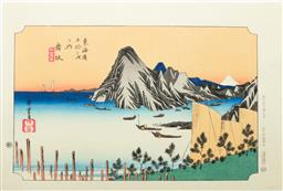 Sale 9168 - Lot 500 - Hiroshige marked Japanese Woodblock print of Maisaka, from the 53 stations of Tokaido series, 40.5cm x 27cm