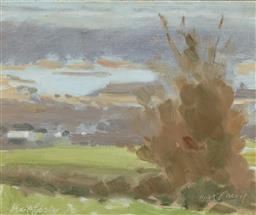 Sale 9244A - Lot 5080 - MAX CASEY (1917 - ) View from the HIlls Towards Narrabeen Lakes oil on board 24 x 29 cm (frame: 35 x 40 x 4 cm) signed lower left an...