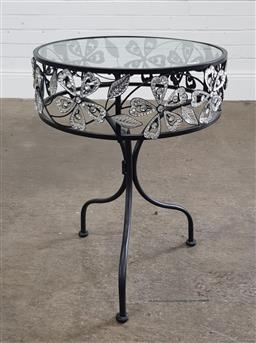 Sale 9255 - Lot 1412 - Glass top metal based side table (h:62 dia:45cm)