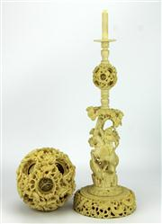 Sale 8123 - Lot 40 - Ivory Dragon Puzzle Ball with Stand