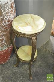 Sale 8272 - Lot 1065 - Ornate Tiered Brass Plant Stand with Round Marble Shelves