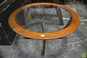 Sale 8326 - Lot 1066 - Circular Atmos Teak Coffee Table with Glass Top