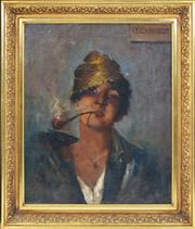 Sale 8389 - Lot 585 - Anthony Dattilo Rubbo (1870 - 1955) - Untitled (Leichhardt Smoker) 60 x 49cm