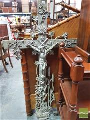 Sale 8416 - Lot 1062 - Cast Iron Crucifix, with climbing ivy, wheat sheaf, rose & bulrushes