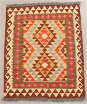 Sale 8445K - Lot 41 - Summer Afghan Tribal Kilim Rug , 111x89cm, Finely handwoven in Northern Afghanistan using high quality local wool. Vibrant summer co...
