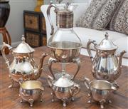 Sale 8562A - Lot 98 - A five piece silver plated tea and coffee service by Viners of Sheffield, together with a EP and glass claret jug on stand, and a pa...