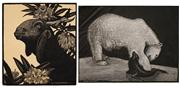 Sale 8583A - Lot 5027 - Lionel Lindsay (1874 - 1961) (2 works) - Untitled (Goat), Polar Bear and Seal 17 x 15cm; 17 x 22.5cm
