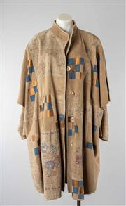 Sale 8760F - Lot 57 - A Zaspel embroidered suede coat with silk lining and mother of pearl buttons, size DE 38 (fits approx AUS 16)