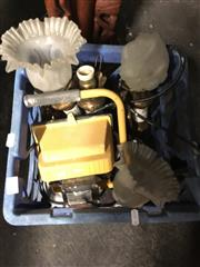 Sale 8759 - Lot 2428 - Crate of Lights incl Vintage Wall Sconces & Oscar Cubie Driving Lights a/f
