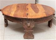 Sale 8868H - Lot 9 - An antique Southeast Asian circular timber coffee table on carved timber legs, with hinged top revealing storage, Height 32cm, Diame...
