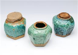 Sale 9098 - Lot 415 - Set of three Chinese glazed ginger jars (some losses) (H10cm)