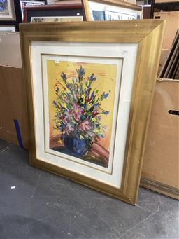 Sale 9094 - Lot 2067 - Artist Unknown Wildflowers acrylic, 98 x 84cm (frame) signed
