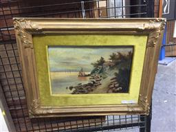 Sale 9118 - Lot 2101 - a 19th century painting of a house by the river and villagers, frame: 36 x 45 cm,