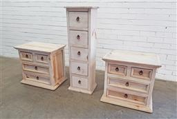 Sale 9126 - Lot 1259 - Pair of painted four drawer bedsides & another slim example (h:60 w:63 d:42cm)