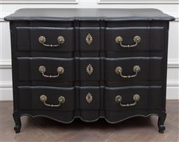 Sale 9130H - Lot 11 - A French style commode of three drawers with black painted finish, Height 87cm x Width 123cm x Depth 56cm