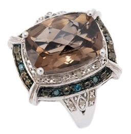 Sale 9186 - Lot 329 - A SILVER QUARTZ AND DIAMOND COCKTAIL RING; set with a long cushion chequerboard cut smoky quartz to double surround and shoulders se...