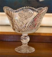 Sale 7981B - Lot 84 - Large lead crystal footed bowl hand etched with flowers