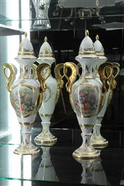 Sale 8024 - Lot 10 - Pair of Artoria Limoges Tall Lidded Vases with C18th Scenes and Gilded Decoration