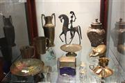 Sale 8116 - Lot 98 - Metal Figural Horseman with Other Metal Wares