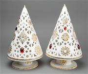 Sale 8444A - Lot 4 - A pair of ceramic Villeroy & Boch candle holders in the form of Christmas trees, H 32cm